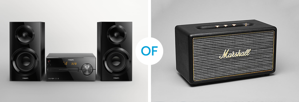 een set versus een single speaker foto