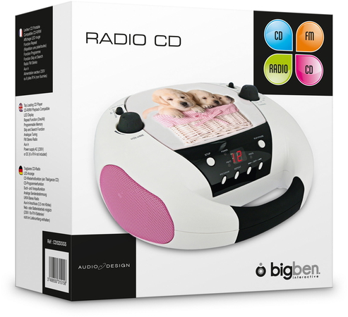 BigBen Interactive CD52DOGS Analogique Noir, Rose, Blanc radio CD