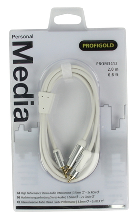 Profigold Profigold PROM3412 2m 3.5mm 2 x RCA Wit audio kabel