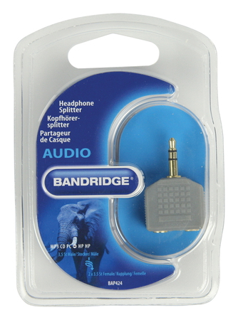 Bandridge Bandridge BAP424 3.5mm M 2 x 3.5mm F stereo Grijs kabeladapter/verloopstukje