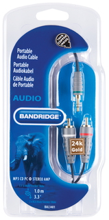 Bandridge Bandridge BAL3401 1m 3,5mm RCA Noir câble audio