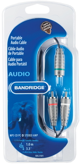 Bandridge Bandridge BAL3501 1m 3,5mm 2 x RCA Noir, Gris câble audio
