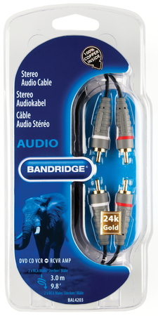 Bandridge BAL4203 3m 2 x RCA Zwart audio kabel