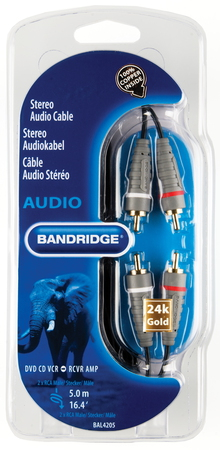 Bandridge BAL4205 5m RCA RCA Zwart audio kabel