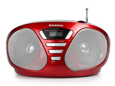 Audiosonic CD-1568 Numérique 6W Rouge radio CD