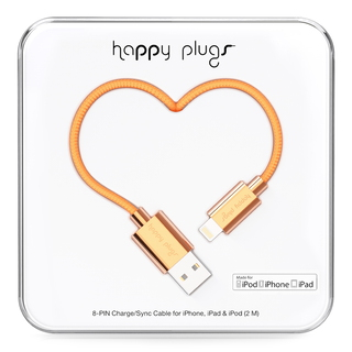 Happy Plugs 2m, Lightning - USB 2m USB A Lightning Goud USB-kabel