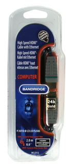 Bandridge High speed HDMI cable with ethernet 2.00 m 2m HDMI HDMI Noir câble HDMI