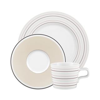 Koffieservies No Limits Cream Lines - 18 stuks