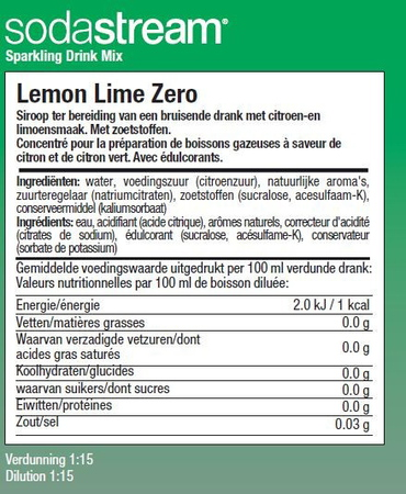 Sodastream Siroop Lemon Lime Zero Classics New Range