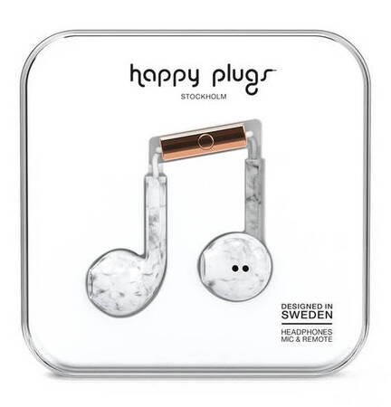 Happy Plugs Oortjes Plus Earbud - Wit marmer