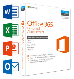 Office 365 Personnel (FR) - 1 PC/Mac + 1 Tablette + 1 Smartphone