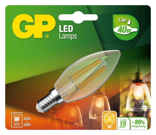 GP Filament Mini Candle 3,3W E14 A+ LED