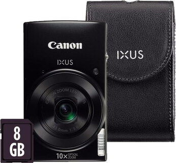 Canon IXUS 182 20 MP HD Noir + Carte SD 8 Go + Sac de transport