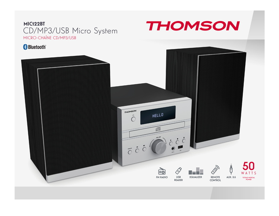Thomson MIC122BT Home audio micro system 50W Noir, Argent ensemble audio pour la maison