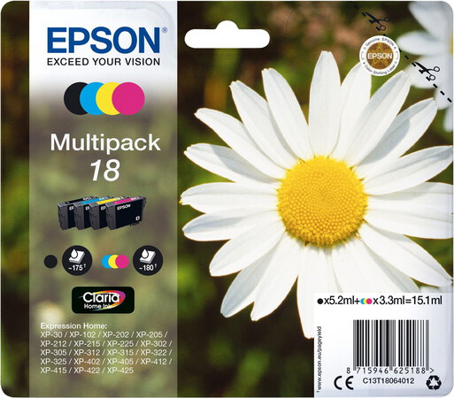 Epson T18 4-couleurs Claria Home Ink Multipack