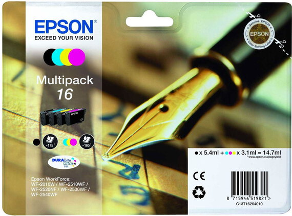 Epson T16 4-couleurs DuraBrite Ultra Ink Multipack