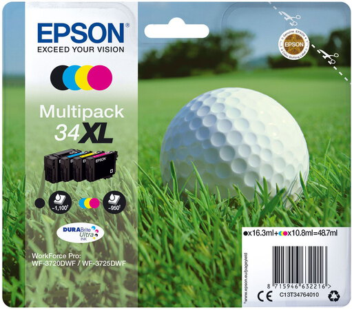 Epson T34 XL 4-couleurs DuraBrite Ultra Ink Multipack