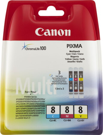Canon CLI-8 3-couleurs ChromaLife 100 Pack