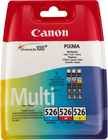 Canon CLI-526 3-couleurs ChromaLife 100 Pack
