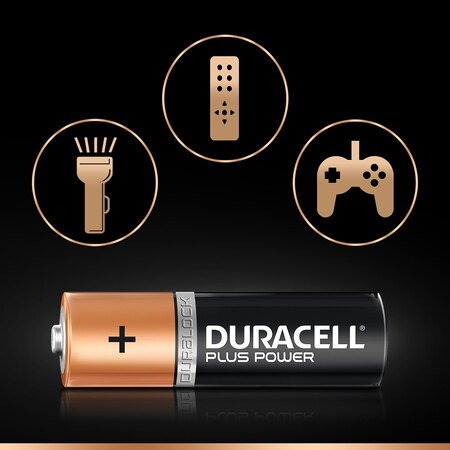 Duracell Plus Power Piles Alcalines type AA, Lot de 4 piles