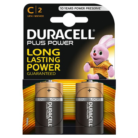 Plus Power alkaline C-batterijen, verpakking van 2