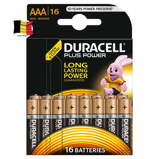 Duracell Plus Power Piles Alcalinestype AAA, Lot de 16 piles
