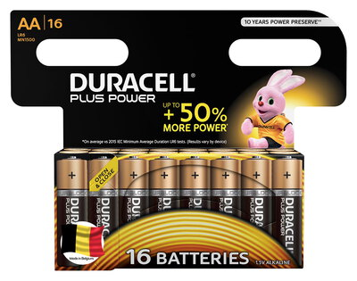 Duracell Plus Power Piles Alcalines type AA, Lot de 16 piles