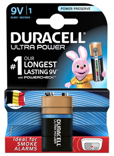 Duracell Ultra Power Piles Alcalines type 9V, Lot de 1 pile