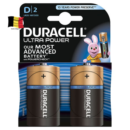 Duracell Ultra Power Piles Alcalines type D, Lot de 2 piles