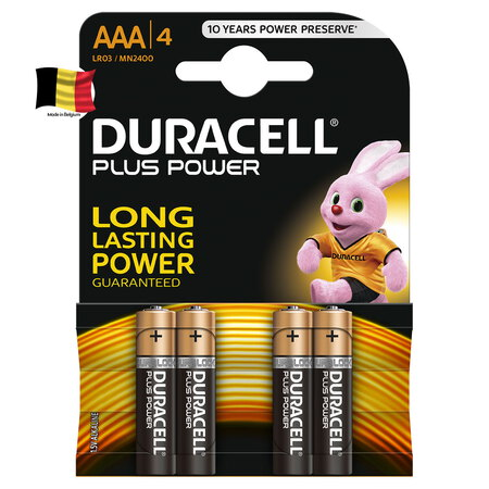 Plus Power alkaline AAA-batterijen, verpakking van 4
