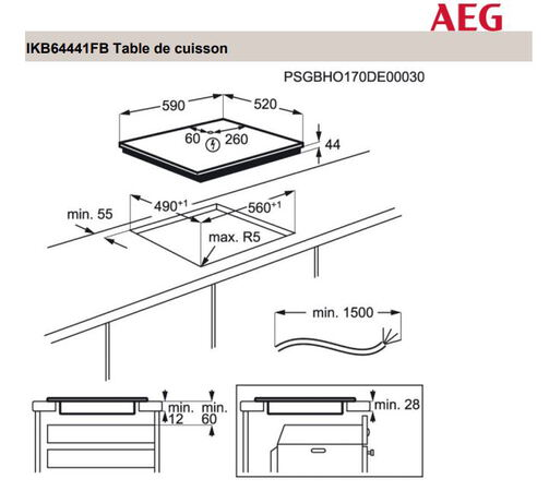 AEG Taque induction IKB64441FB Hob2Hood
