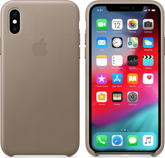 Apple Coque en cuir pour iPhone Xs - Taupe - MRWL2ZM/A