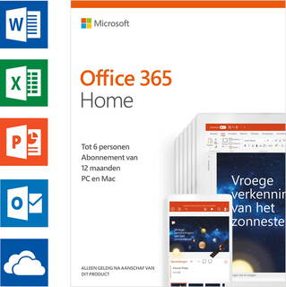 Microsoft Office 365 Home (NL) - 1 an - 6 utilisateurs