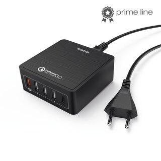 Hama 220V 5-PORT USB CHARGER 8.0A 1X QC 3.0, 1X USB TYPE-C, 3X USB
