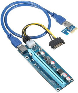 Premium PCIe 1x vers 16x Riser - USB 3.0 & 6-pin power