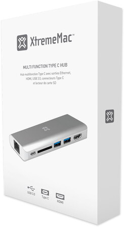 Xtrememac Multifunctionele USB Type C-hub - Zilver