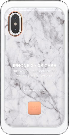 Happy Plugs Backcover Carbon Fiber voor iPhone X of Xs - White marble