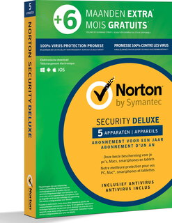 Norton Security Deluxe - 1 jaar + 6 maanden - 5 apparaten