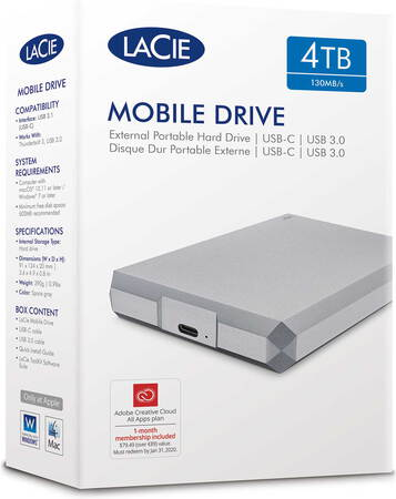 Lacie Mobile Drive USB C Moon Silver - 4 To