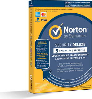 Symantec Norton™ Security Deluxe - 1 jaar - 5 toestellen