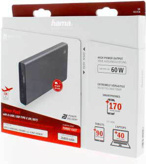 Hama Powerbank PD-27W60 - 26.800 mAh - Anthracite