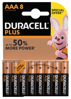 Duracell Plus Power Piles Alcalines type AAA, Lot de 8 piles