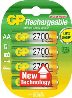 GP 4 batteries AA rechargeable - 2700-series