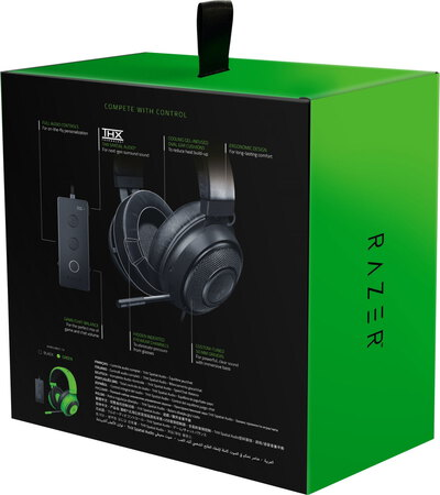 Razer Casque gaming Kraken Tournament Edition avec audio controller THX - Noir