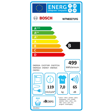 Bosch Sèche-linge à condensation WTN83271FG SensitiveDrying
