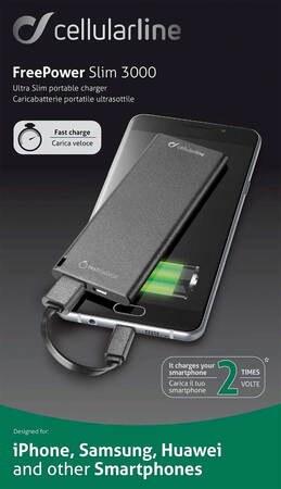 Cellular Line FreePower Slim - 3.000 mAh - Zwart