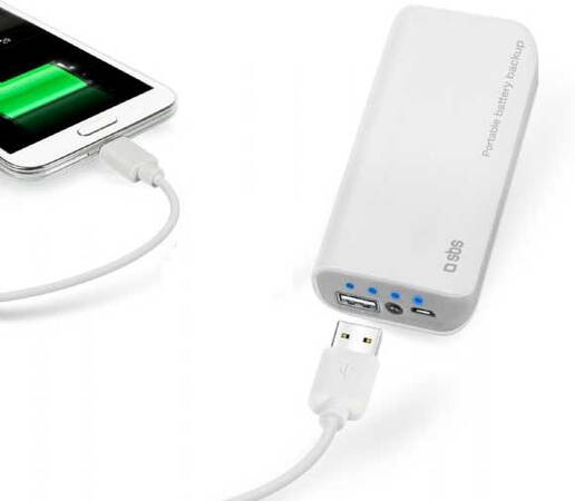 SBS Portable battery backup - 5.000 mAh - Wit