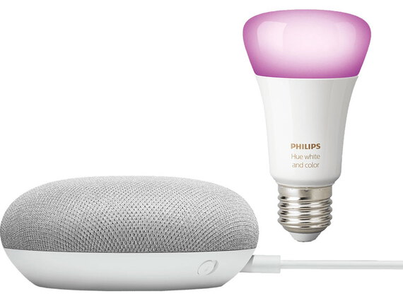 Google Nest Mini en Philips Hue White and Color Ambiance E27-lamp