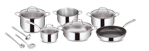 Lagostina All Heat Sources Including Induction Cookware, Stainless Steel, Stainless Steel, 63.6 x 35.1 x 30.3 cm
