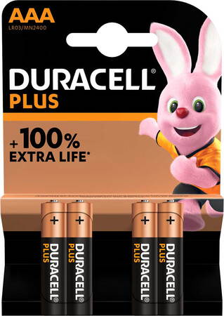 Duracell Plus 4x batteries AAA